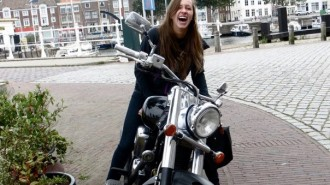 Nahanni on a bike in Belgium