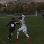 Lars Filson fights for the ball.